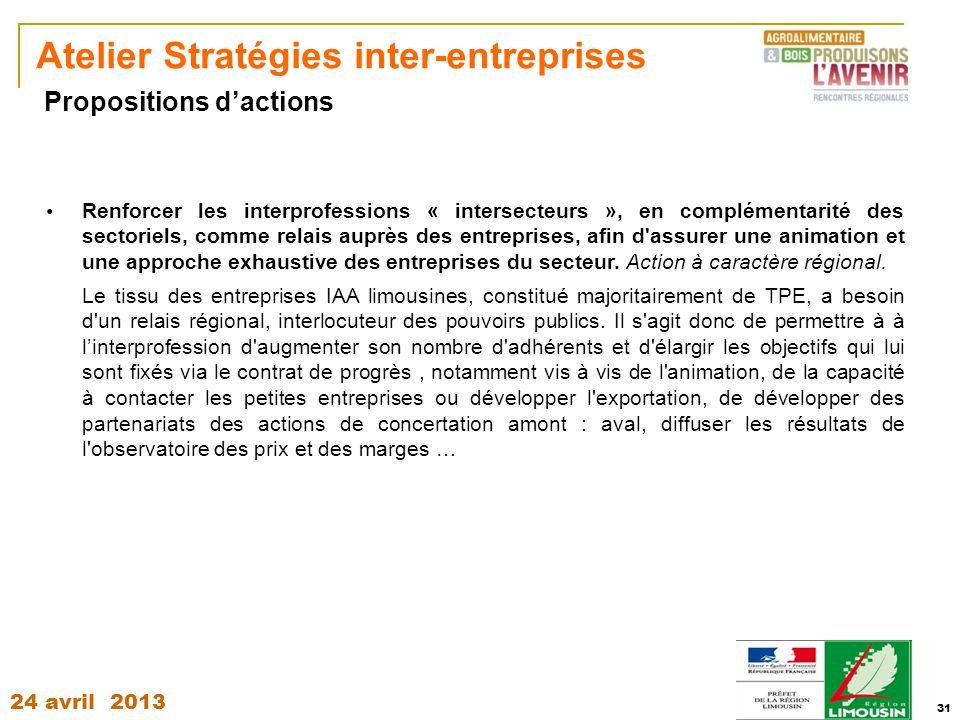 24 avril 2013 31 Atelier Stratégies inter-entreprises Renforcer les interprofessions « intersecteurs », en complémentarité des sectoriels, comme relai
