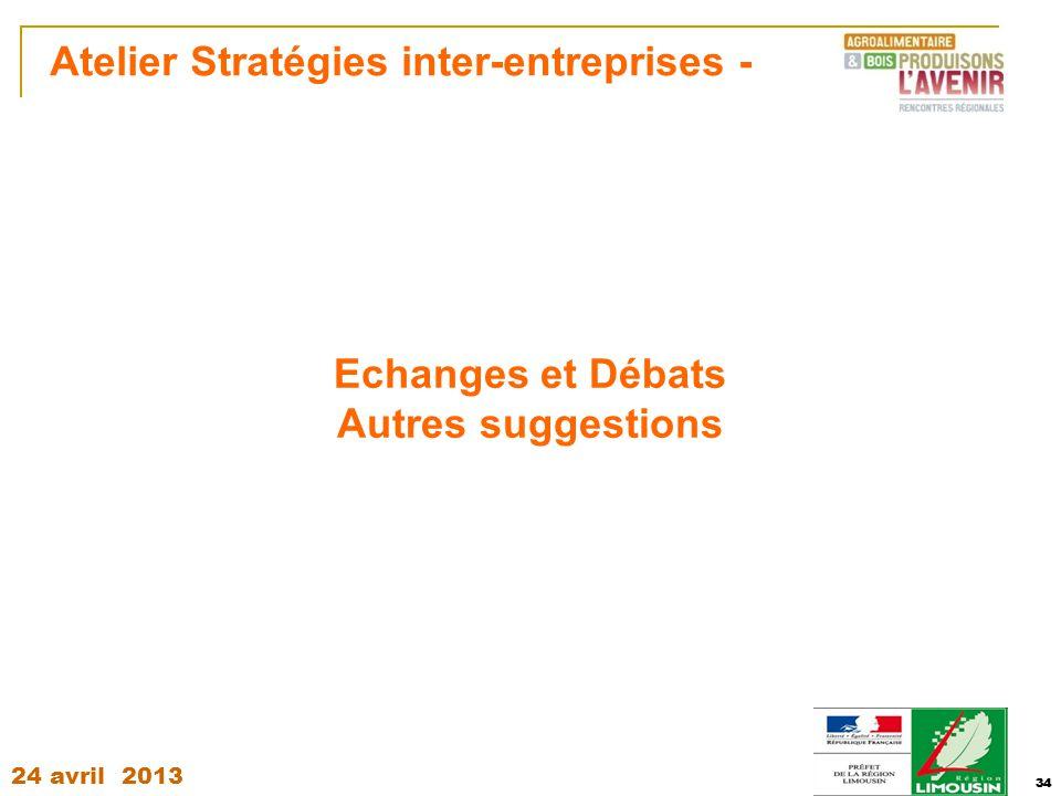 24 avril 2013 34 Atelier Stratégies inter-entreprises - 34 Echanges et Débats Autres suggestions