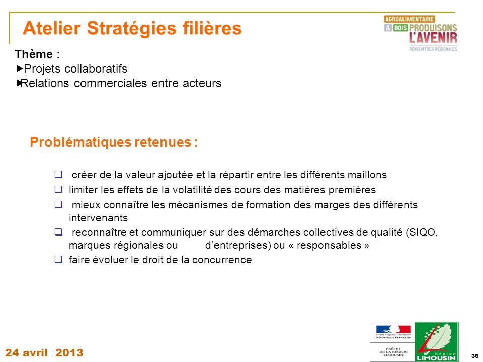 24 avril 2013 36 Atelier Stratégies filières Thème :  Projets collaboratifs  Relations commerciales entre acteurs Problématiques retenues :  créer