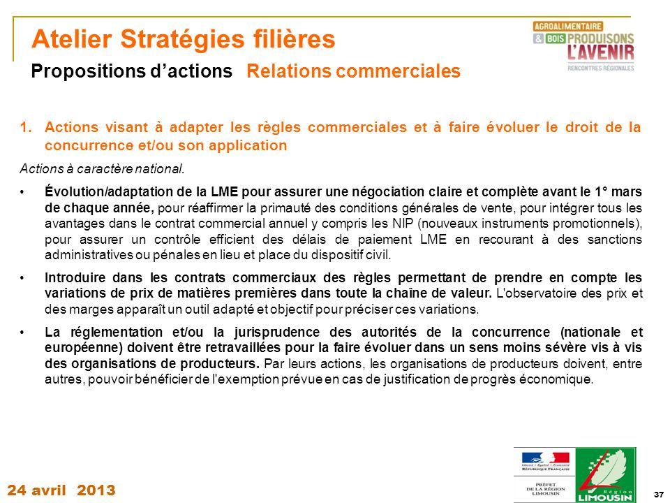 24 avril 2013 37 Atelier Stratégies filières 1.Actions visant à adapter les règles commerciales et à faire évoluer le droit de la concurrence et/ou so