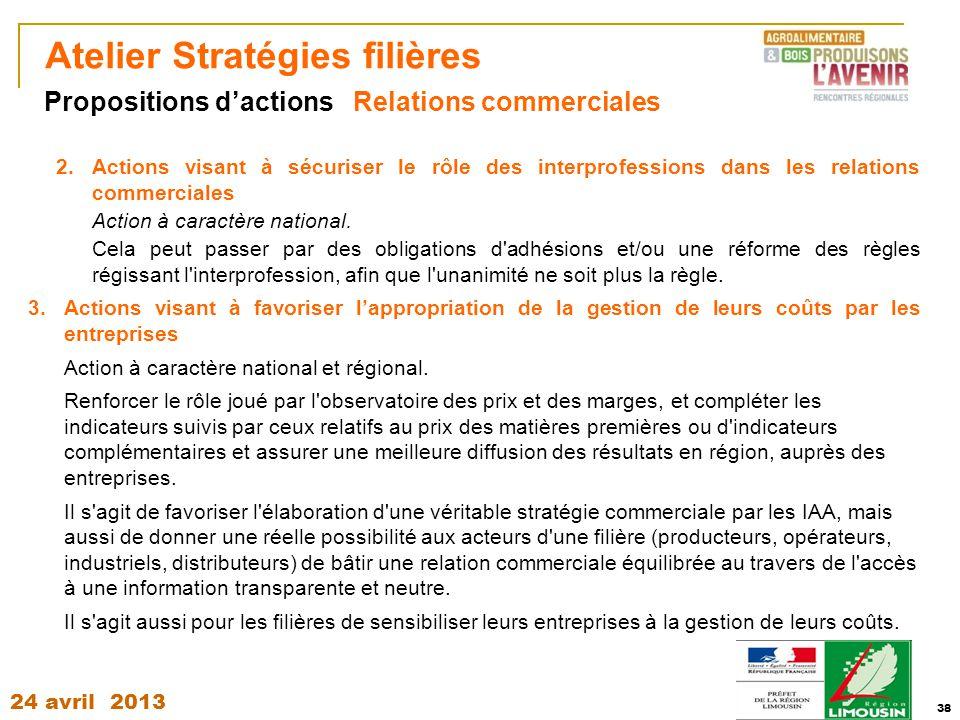 24 avril 2013 38 Atelier Stratégies filières 2.Actions visant à sécuriser le rôle des interprofessions dans les relations commerciales Action à caract