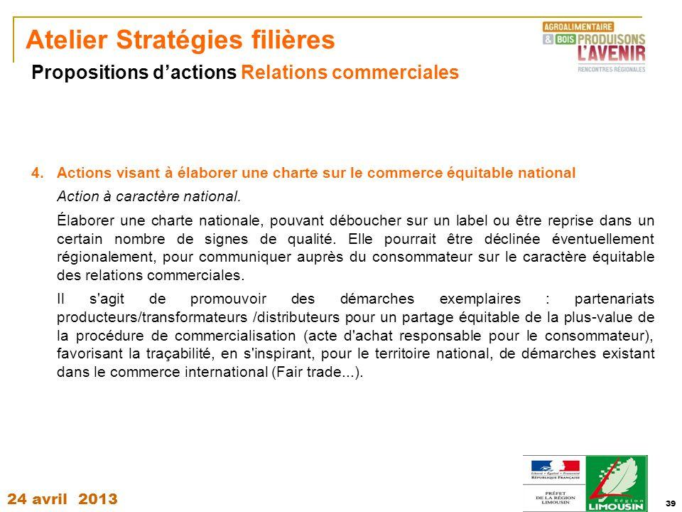24 avril 2013 39 Atelier Stratégies filières 4.Actions visant à élaborer une charte sur le commerce équitable national Action à caractère national. Él