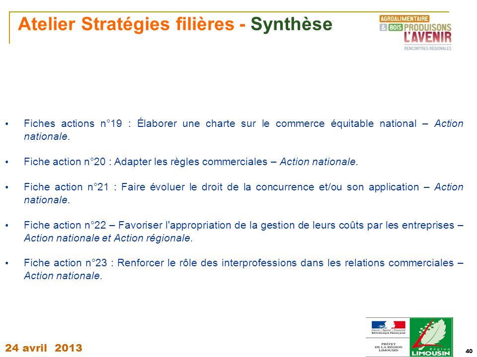 24 avril 2013 40 Atelier Stratégies filières - Synthèse Fiches actions n°19 : Élaborer une charte sur le commerce équitable national – Action national