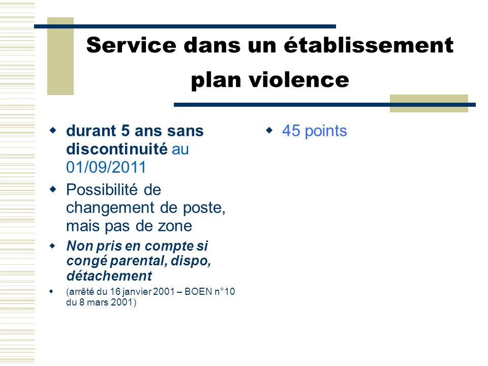Service dans un établissement plan violence  durant 5 ans sans discontinuité au 01/09/2011  Possibilité de changement de poste, mais pas de zone  N