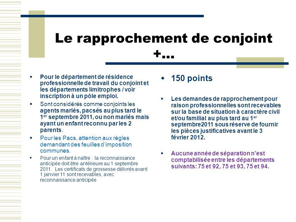 Le rapprochement de conjoint +…  Pour le département de résidence professionnelle de travail du conjoint et les départements limitrophes / voir inscr