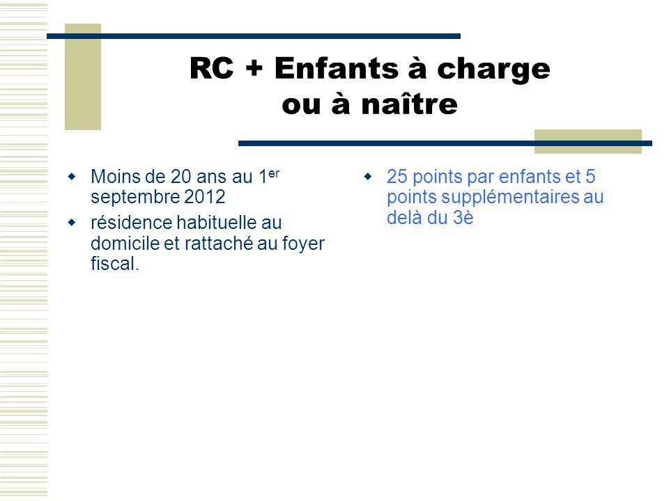 RC + Enfants à charge ou à naître  Moins de 20 ans au 1 er septembre 2012  résidence habituelle au domicile et rattaché au foyer fiscal.  25 points