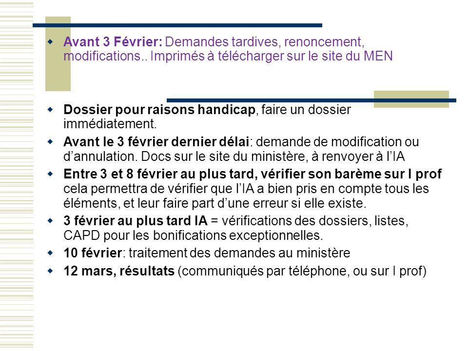  Avant 3 Février: Demandes tardives, renoncement, modifications.. Imprimés à télécharger sur le site du MEN  Dossier pour raisons handicap, faire un