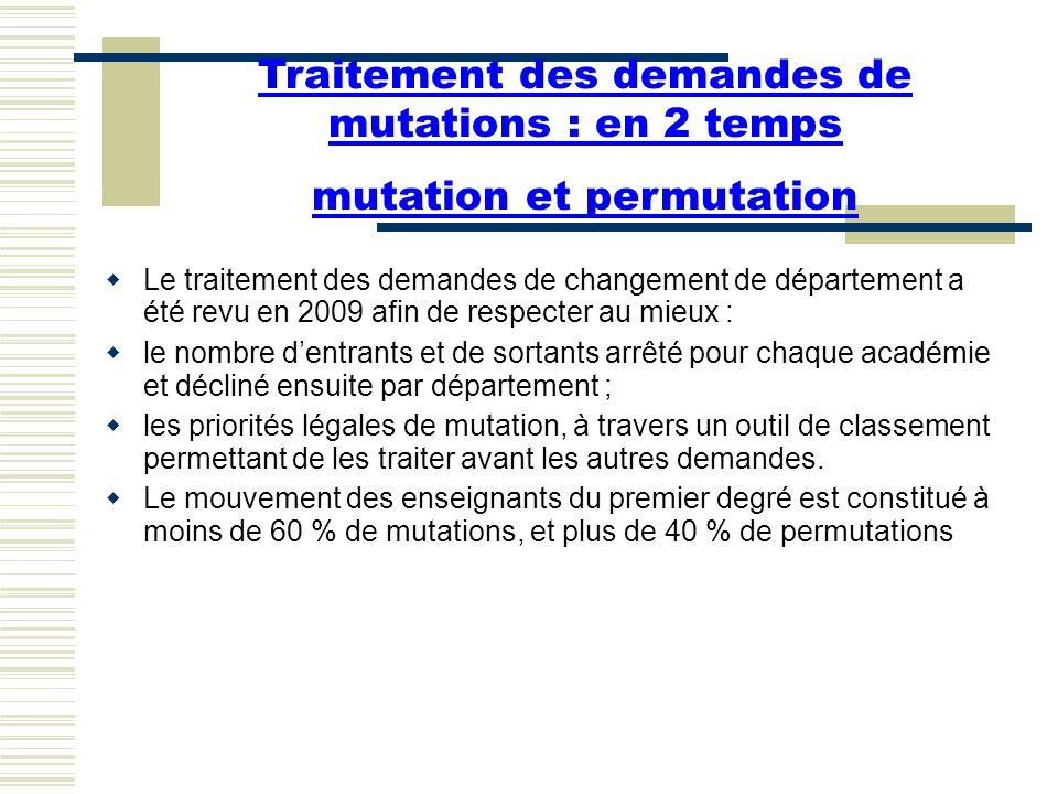 Traitement des demandes de mutations : en 2 temps mutation et permutation  Le traitement des demandes de changement de département a été revu en 2009