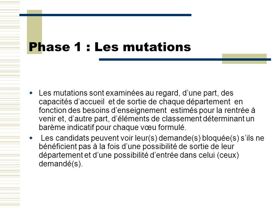 Phase 1 : Les mutations  Les mutations sont examinées au regard, d'une part, des capacités d'accueil et de sortie de chaque département en fonction d