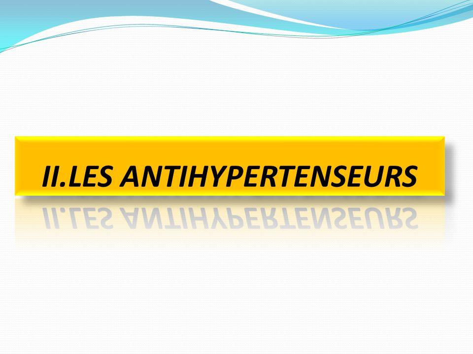 DEFINITION Classe de médicament Administrée pour réduire l'HTA Susceptibles d'abaisser une tension artérielle anormale levée.