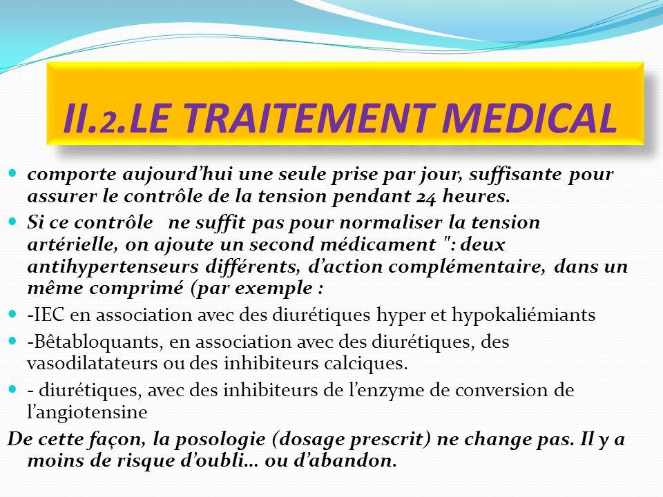 II. 2.LE TRAITEMENT MEDICAL comporte aujourd'hui une seule prise par jour, suffisante pour assurer le contrôle de la tension pendant 24 heures. Si ce