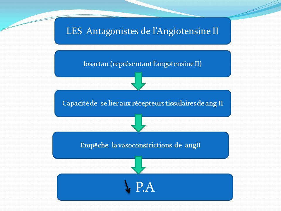 Iosartan (représentant l'angotensine II) Capacité de se lier aux récepteurs tissulaires de ang II Empêche la vasoconstrictions de angII P.A LES Antago