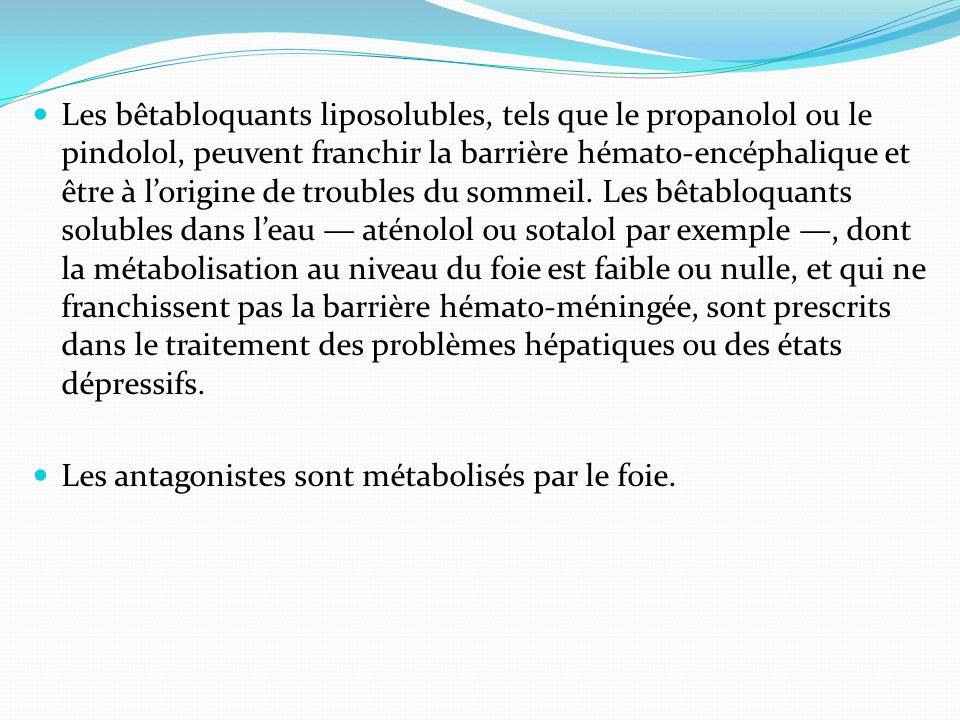 Les bêtabloquants liposolubles, tels que le propanolol ou le pindolol, peuvent franchir la barrière hémato-encéphalique et être à l'origine de troubles du sommeil.
