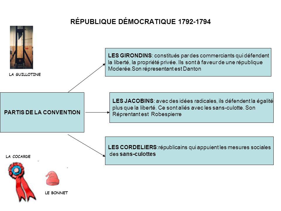 RÉPUBLIQUE DÉMOCRATIQUE 1792-1794 PARTIS DE LA CONVENTION LES JACOBINS: avec des idées radicales, ils défendent la égalité plus que la liberté. Ce son