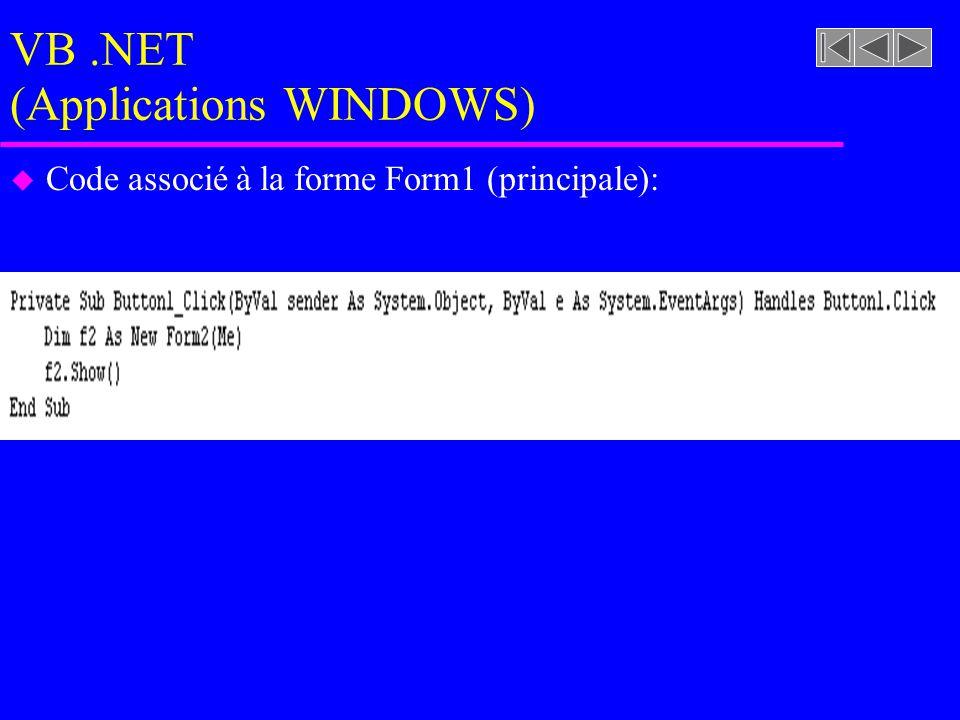 VB.NET (Applications WINDOWS) u Code associé à la forme Form1 (principale):