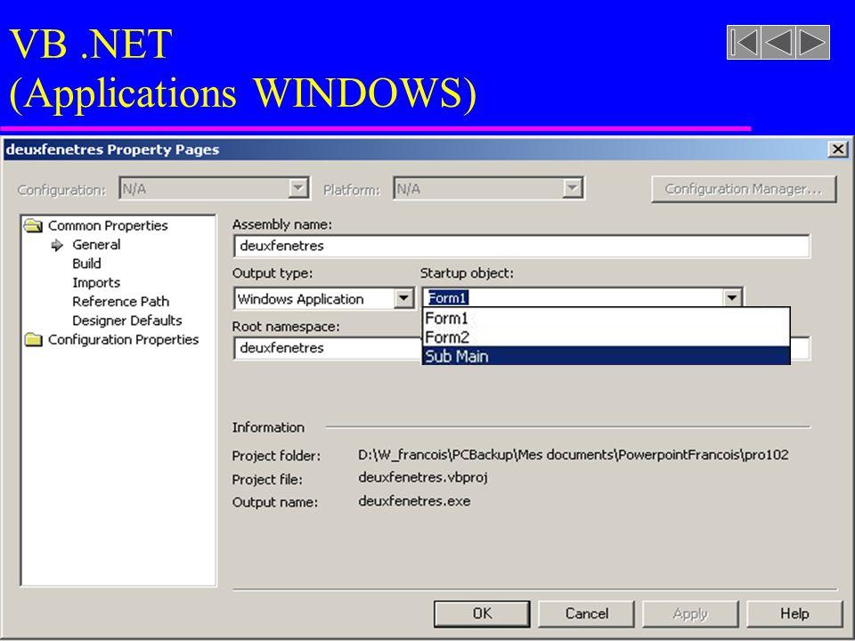VB.NET (Applications WINDOWS)