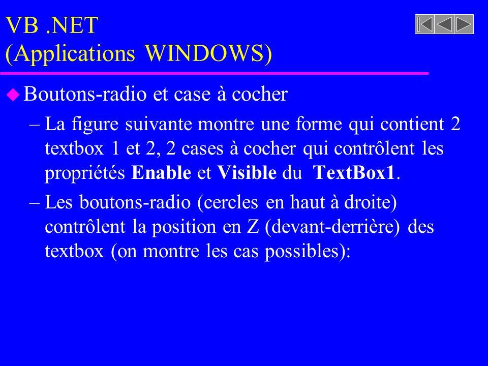 VB.NET (Applications WINDOWS) u Boutons-radio et case à cocher –La figure suivante montre une forme qui contient 2 textbox 1 et 2, 2 cases à cocher qui contrôlent les propriétés Enable et Visible du TextBox1.