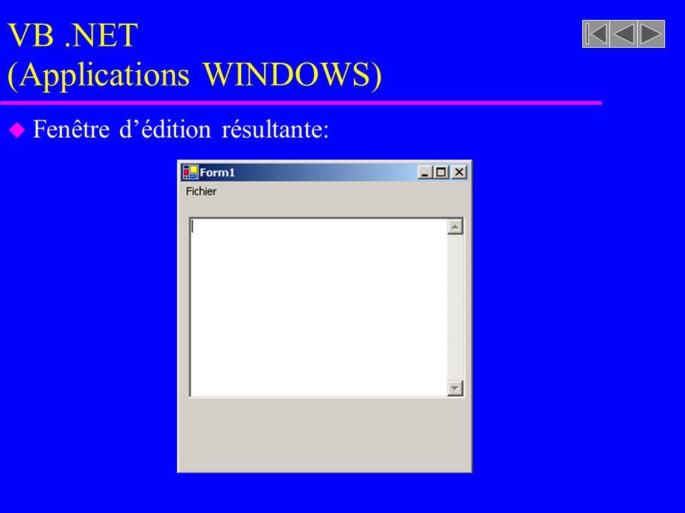 VB.NET (Applications WINDOWS) u Fenêtre d'édition résultante: