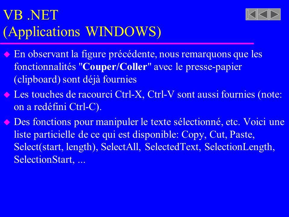 VB.NET (Applications WINDOWS) u En observant la figure précédente, nous remarquons que les fonctionnalités Couper/Coller avec le presse-papier (clipboard) sont déjà fournies u Les touches de racourci Ctrl-X, Ctrl-V sont aussi fournies (note: on a redéfini Ctrl-C).