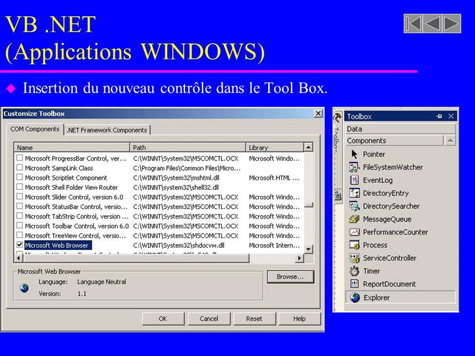 VB.NET (Applications WINDOWS) u Insertion du nouveau contrôle dans le Tool Box.