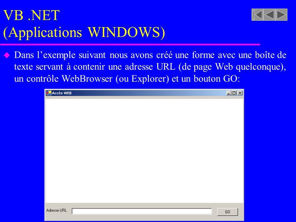 VB.NET (Applications WINDOWS) u Dans l'exemple suivant nous avons créé une forme avec une boîte de texte servant à contenir une adresse URL (de page Web quelconque), un contrôle WebBrowser (ou Explorer) et un bouton GO: