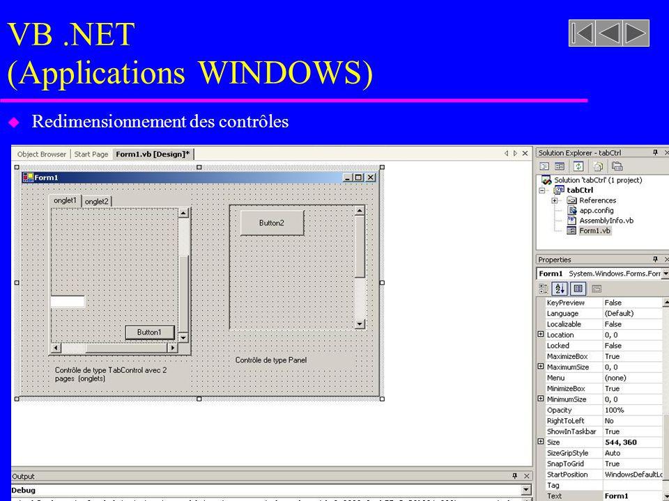 VB.NET (Applications WINDOWS) u Redimensionnement des contrôles