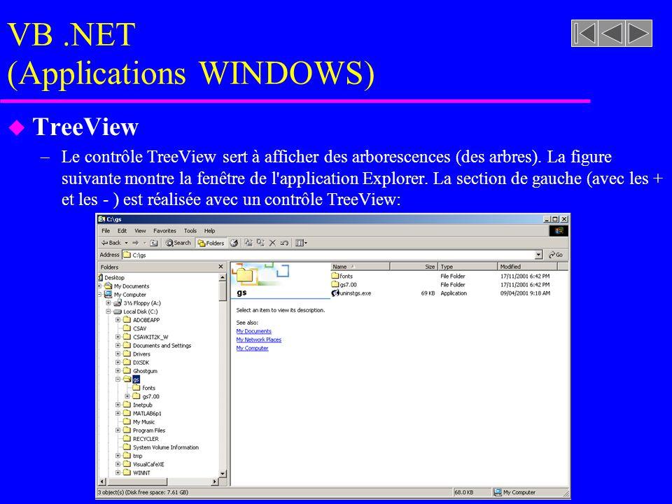 VB.NET (Applications WINDOWS) u TreeView –Le contrôle TreeView sert à afficher des arborescences (des arbres).