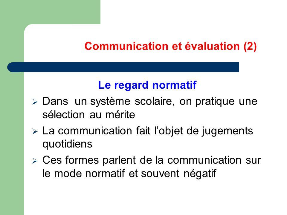 Communication et évaluation (2) Le regard normatif  Dans un système scolaire, on pratique une sélection au mérite  La communication fait l'objet de jugements quotidiens  Ces formes parlent de la communication sur le mode normatif et souvent négatif