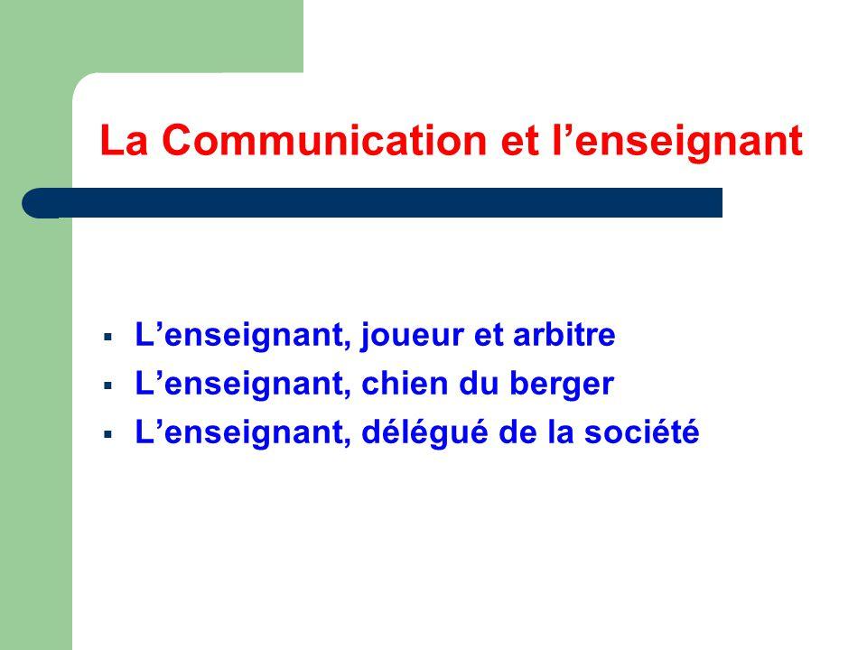 La Communication et l'enseignant  L'enseignant, joueur et arbitre  L'enseignant, chien du berger  L'enseignant, délégué de la société
