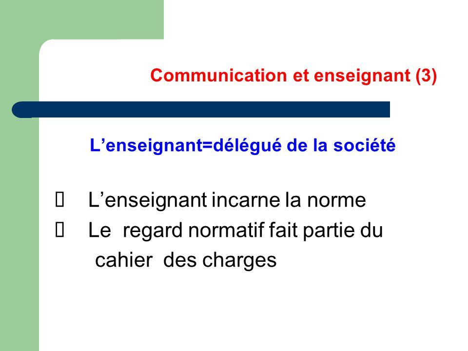 Communication et enseignant (3) L'enseignant=délégué de la société L'enseignant incarne la norme Le regard normatif fait partie du cahier des charges