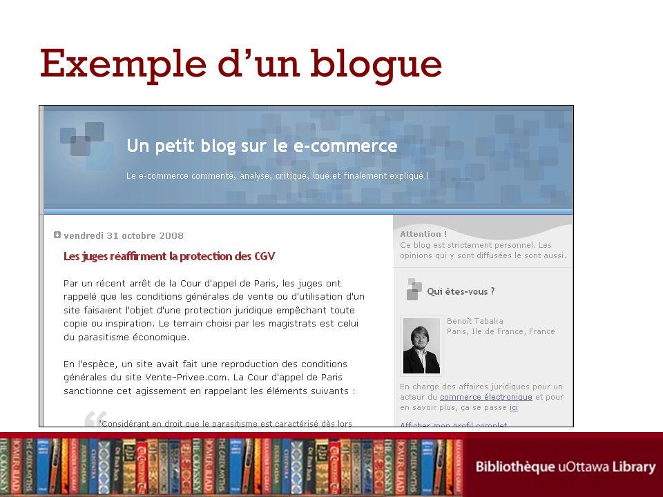 Exemple d'un blogue