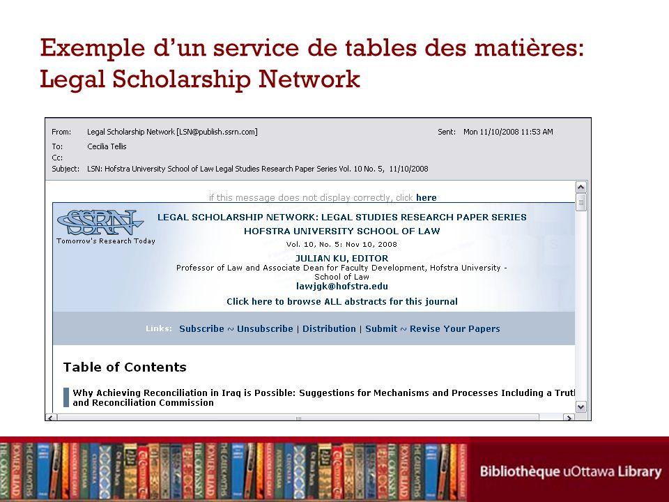 Exemple d'un service de tables des matières: Legal Scholarship Network