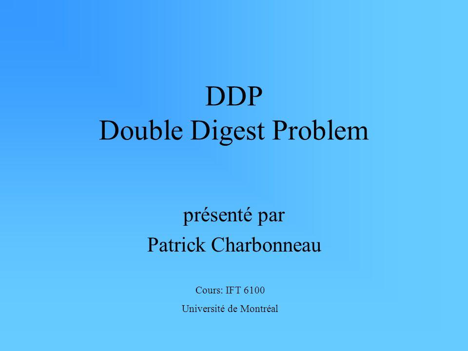 DDP Double Digest Problem présenté par Patrick Charbonneau Cours: IFT 6100 Université de Montréal