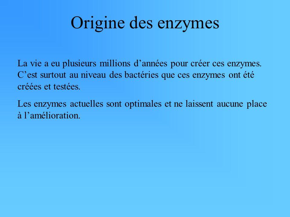 Origine des enzymes La vie a eu plusieurs millions d'années pour créer ces enzymes. C'est surtout au niveau des bactéries que ces enzymes ont été créé