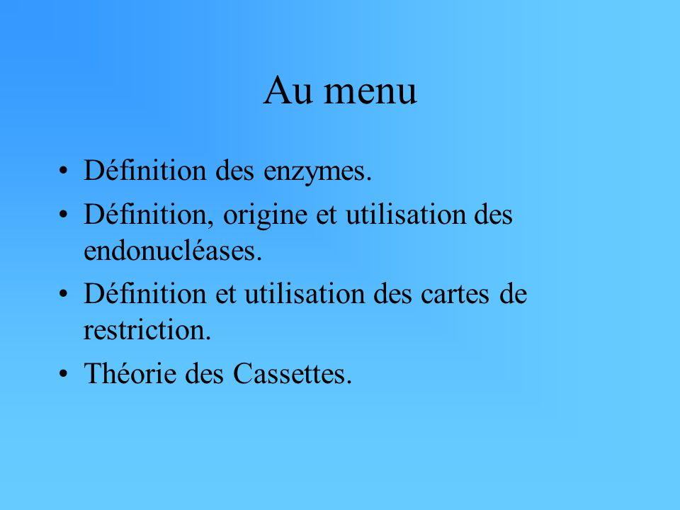 Au menu Définition des enzymes. Définition, origine et utilisation des endonucléases. Définition et utilisation des cartes de restriction. Théorie des