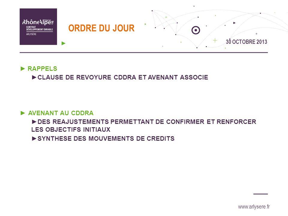 30 OCTOBRE 2013 www.arlysere.fr RAPPELS : Clause de revoyure CDDRA et avenant associé