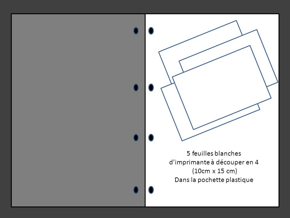 5 feuilles blanches d'imprimante à découper en 4 (10cm x 15 cm) Dans la pochette plastique