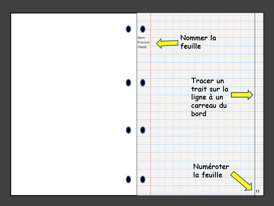Nom Prénom classe L1 Tracer un trait sur la ligne à un carreau du bord Numéroter la feuille Nommer la feuille