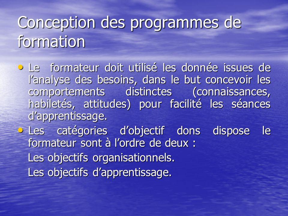 Conception des programmes de formation Le formateur doit utilisé les donnée issues de l'analyse des besoins, dans le but concevoir les comportements d