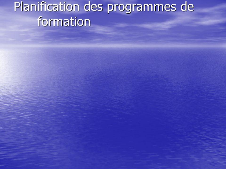 Planification des programmes de formation