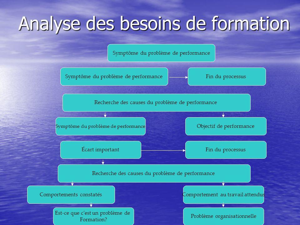 Analyse des besoins de formation Recherche des causes du problème de performance Comportements constatés Symptôme du problème de performance Fin du pr