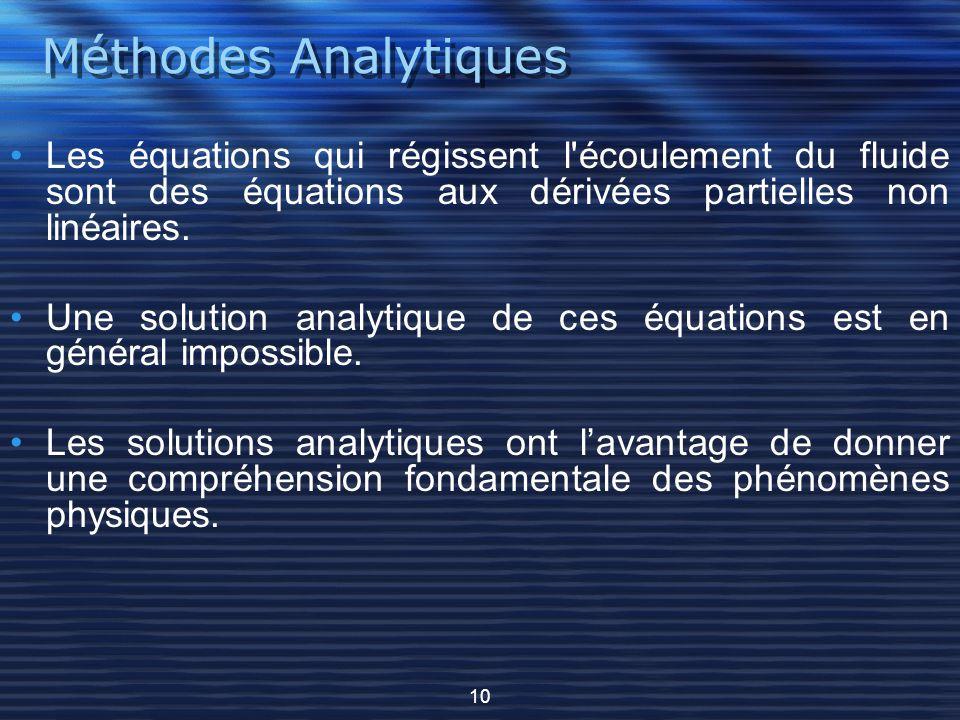Méthodes Analytiques Les équations qui régissent l'écoulement du fluide sont des équations aux dérivées partielles non linéaires. Une solution analyti