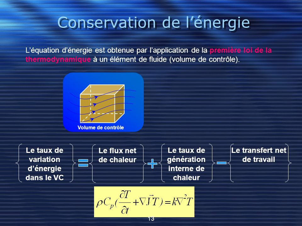 Conservation de l'énergie L'équation d'énergie est obtenue par l'application de la première loi de la thermodynamique à un élément de fluide (volume d