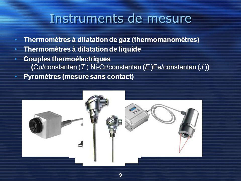 Instruments de mesure Thermomètres à dilatation de gaz (thermomanomètres) Thermomètres à dilatation de liquide Couples thermoélectriques (Cu/constanta