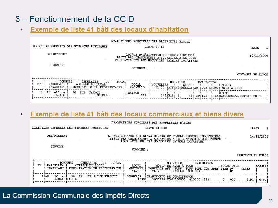 La Commission Communale des Impôts Directs 11 3 – Fonctionnement de la CCID Exemple de liste 41 bâti des locaux d'habitation Exemple de liste 41 bâti