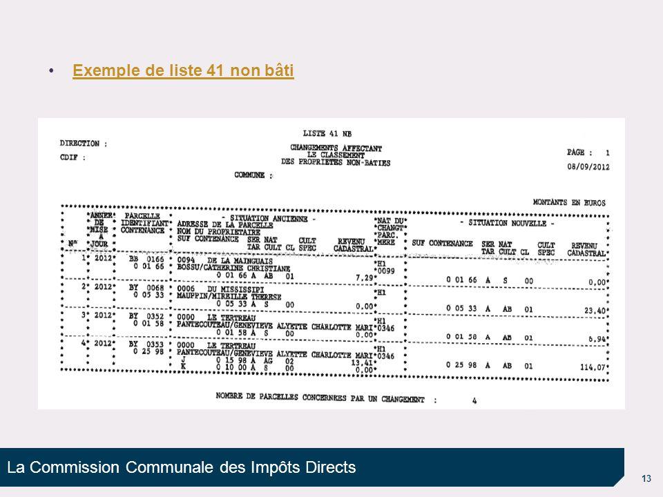 La Commission Communale des Impôts Directs 13 Exemple de liste 41 non bâti