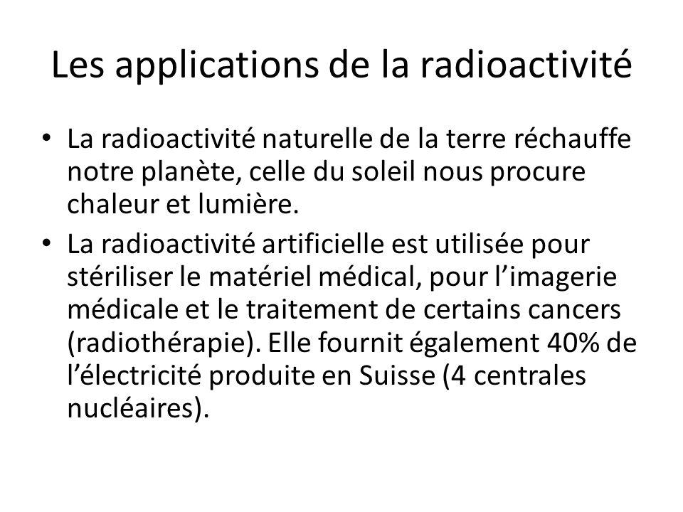 Les applications de la radioactivité La radioactivité naturelle de la terre réchauffe notre planète, celle du soleil nous procure chaleur et lumière.