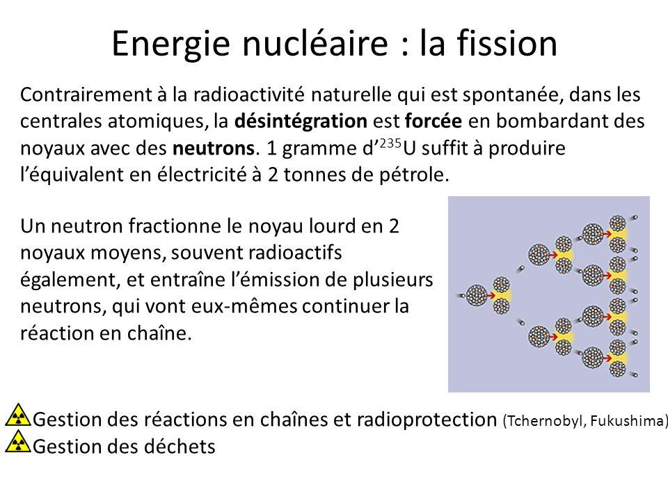 Energie nucléaire : la fission Contrairement à la radioactivité naturelle qui est spontanée, dans les centrales atomiques, la désintégration est forcé