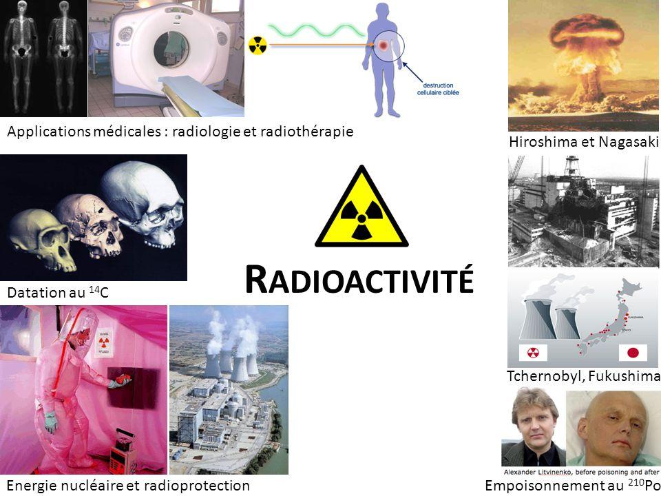 Applications médicales : radiologie et radiothérapie Datation au 14 C Energie nucléaire et radioprotection Hiroshima et Nagasaki Tchernobyl, Fukushima