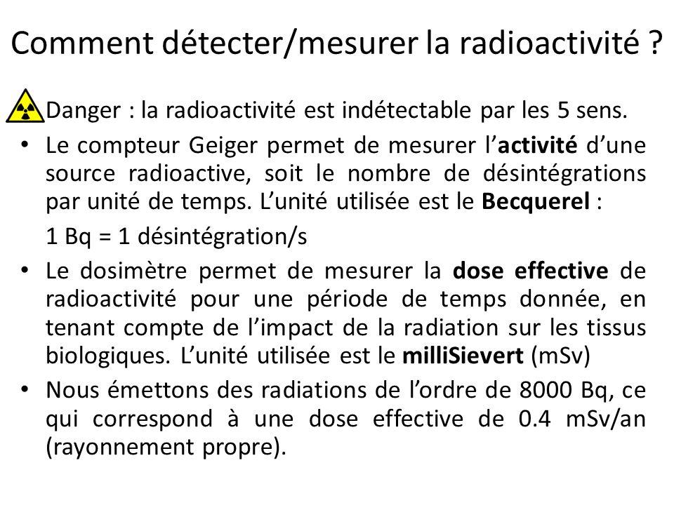 Effets des irradiations sur la santé L'effet sur la santé dépend : – du type de rayonnement ( , ,  ) – de la dose absorbée (ou énergie déposée par unité de masse) – de la durée d'exposition La dose effective (en mSv) tient compte de l'impact biologique des radiations.